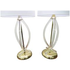 Stunning Pair of Dorothy Thorpe Lucite and Brass Lamps, Hollywood Regency