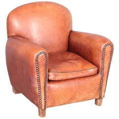 Art Deco Children Armchair in Leather