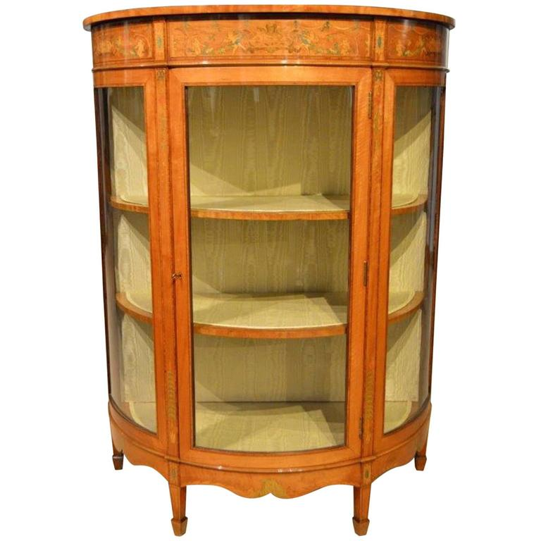 Fine Quality Satinwood Edwardian Period Demilune Antique Display Cabinet 1