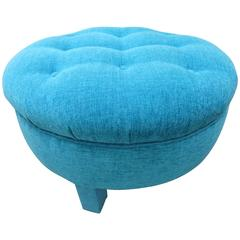 Excellent Mid-Century Round Tufted Pouf Upholstered Ottoman