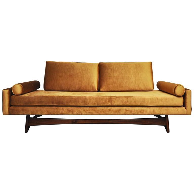Adrian Pearsall Gondola Sofa in Gold Velvet For Sale at