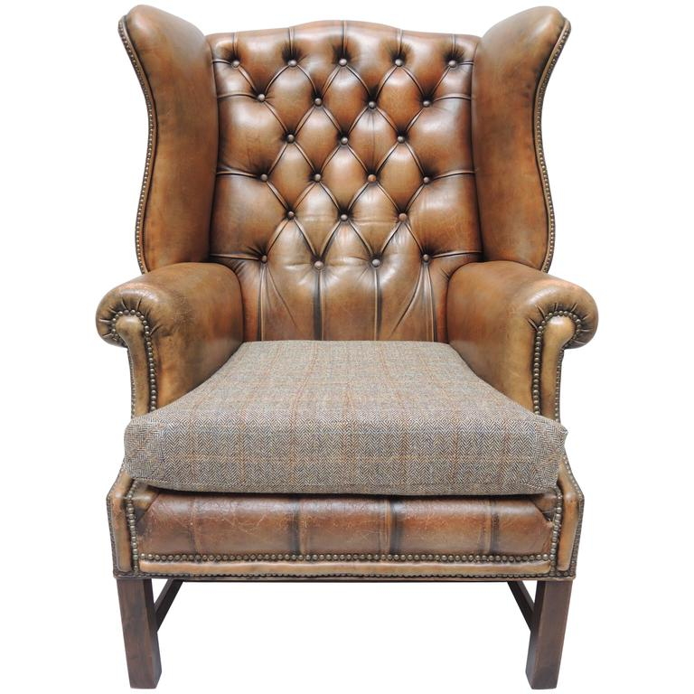 English Georgian Style Brown Leather Wing Chair With Brass Nail Head Trim 1