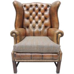 English Georgian Style Brown Leather Wing Chair with Brass Nail Head Trim
