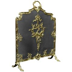 Polished Brass and Mesh French Fire Screen