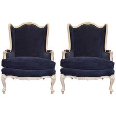 Pair of Louis XV Style Wing Chairs, Painted, Upholstered in Navy Velvet Fabric