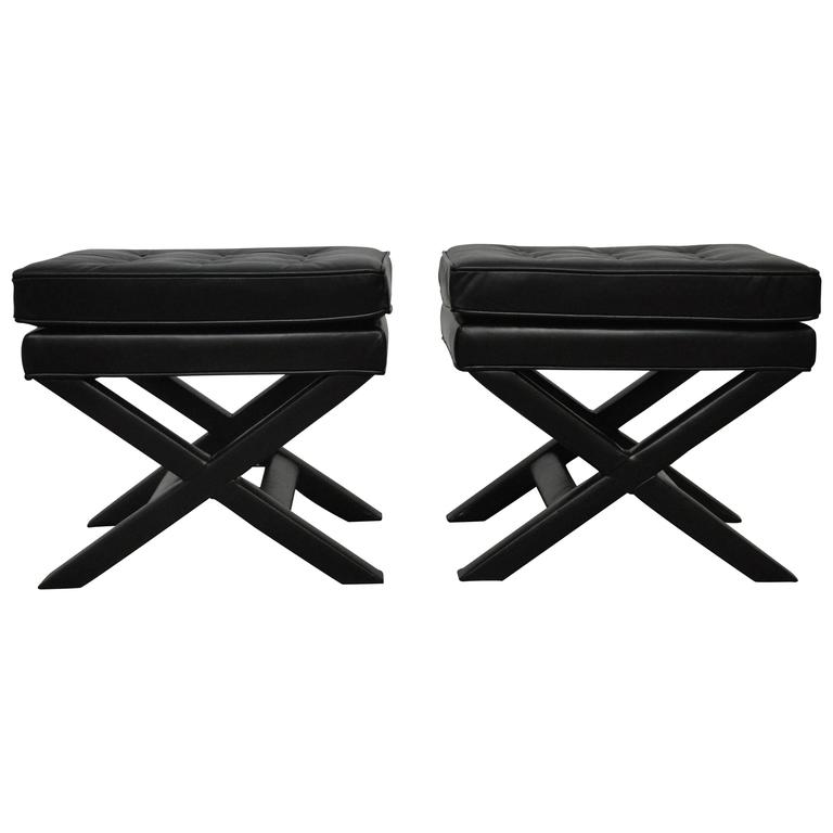 Black Leather X-Base Stools 1