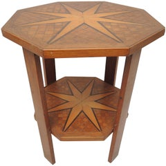 1940s Belgian Side Table Inlaid with Nautical Stars