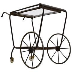 Maison Jansen Style Brass Mid-Century Serving Trolley
