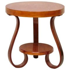 1930 Round Cherry Wood Italian Art Deco Side Table