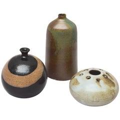 Three Signed Mid-Century Modern Art Pottery Vases