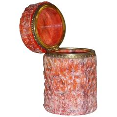 Vintage Italian Coral Color Marble Lidded Box with Bronze Trim