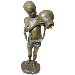Orientalist Bronze of Young Boy