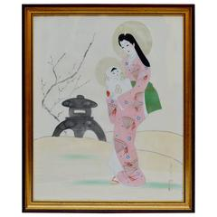 "Vintage Japanese Painting on Silk ""Madonna and Child"""