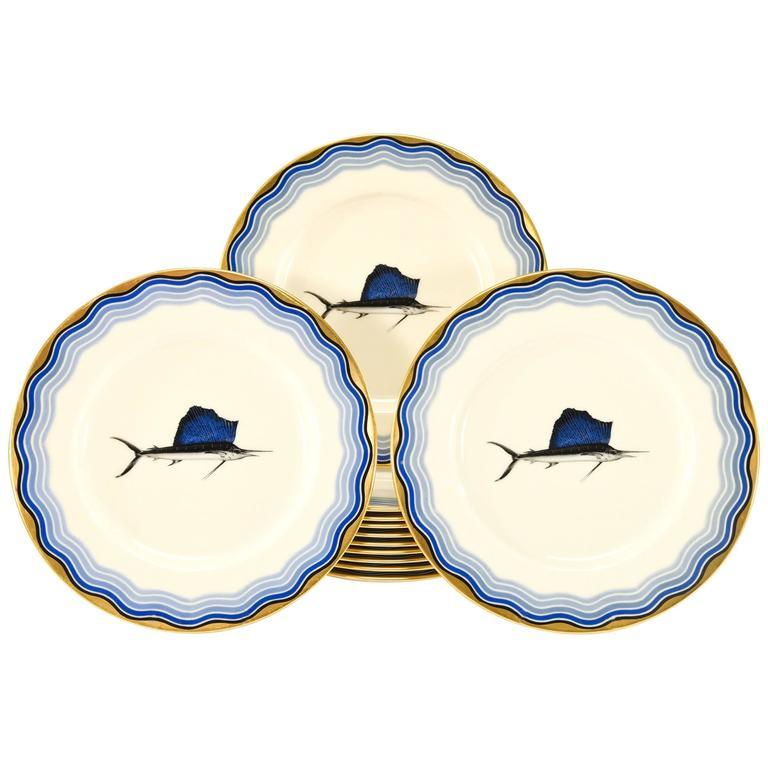 Set of 12 Lenox Blue Sailfish Dinner Plates Gold Waves Black Starr Frost Gorham