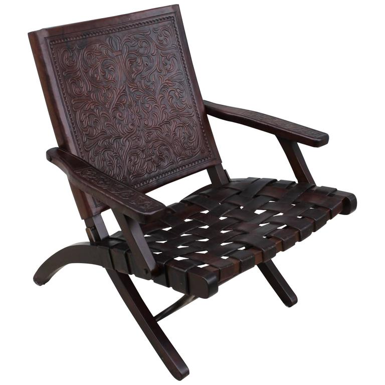 1940s Spanish Leather Folding Lounge Chair For Sale at 1stdibs