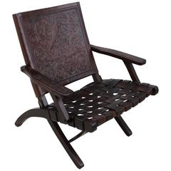 1940s Spanish Leather Folding Lounge Chair