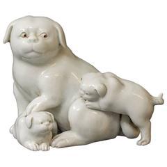 Hirado-Ware Mother and Puppies