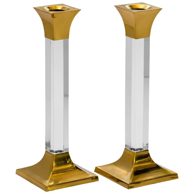 Pair of Vintage Brass and Lucite Candleholders 1