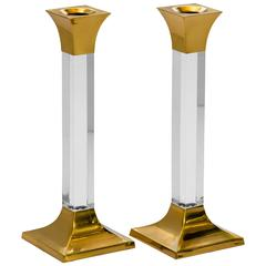 Pair of Vintage Brass and Lucite Candleholders
