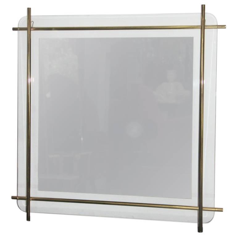 Minimal Wall Mirror Design with Brass, 1970s