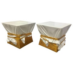 Sculptural Hollywood Regency Style Draped Rope Occasional Tables, Pair
