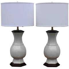 Pair of Blanc De Chine Table Lamps by Marbro