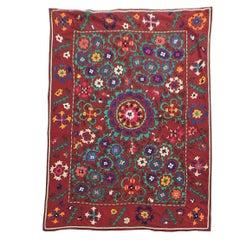 Large Vintage Red Floral Suzani Textile Cloth