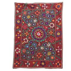 Large Vintage Red Floral Suzani Textile Cloth