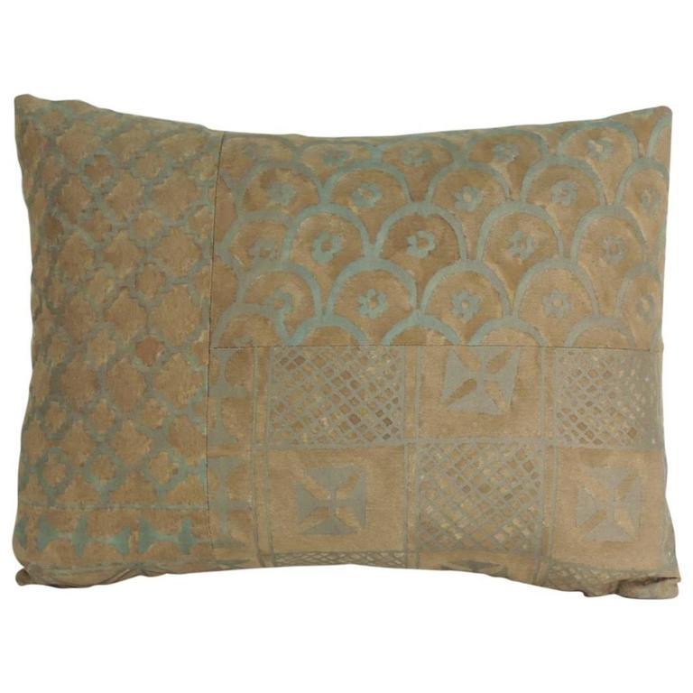 "Vintage Fortuny ""Ashanti"" Lumbar Petite Decorative Pillow"