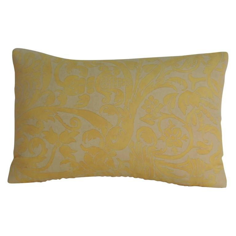 Vintage Decorative Pillow : Vintage Fortuny Uccelli Maize on Oyster Lumbar Petite Decorative Pillow For Sale at 1stdibs