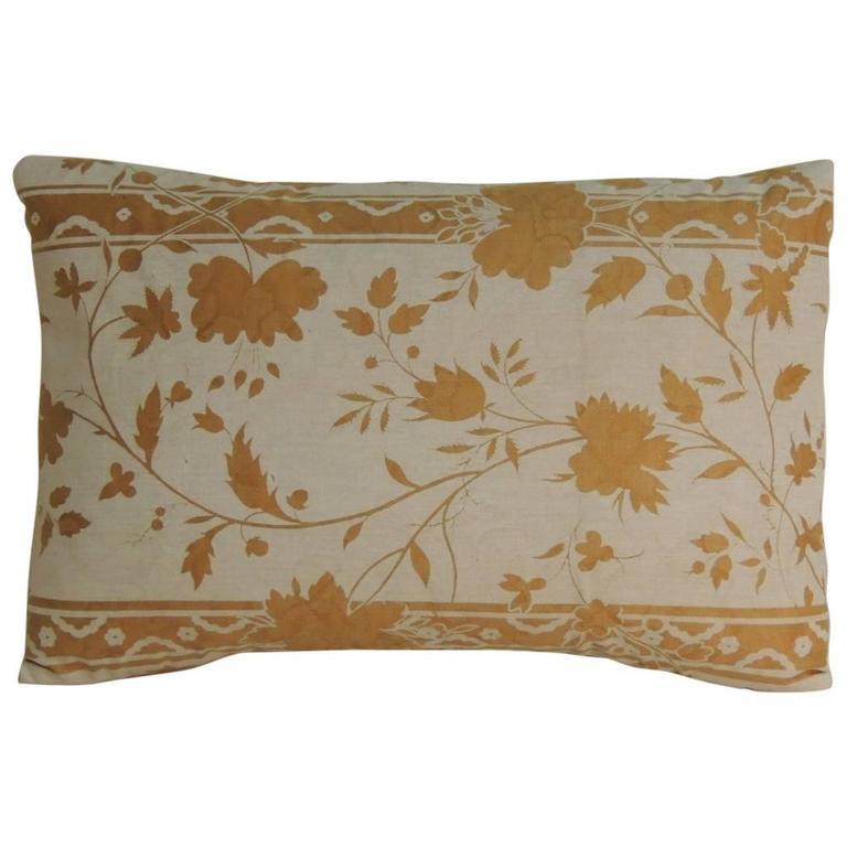 Decorative Pillows Vintage : Vintage Fortuny Style Gold on Oyster Lumbar Decorative Pillow at 1stdibs