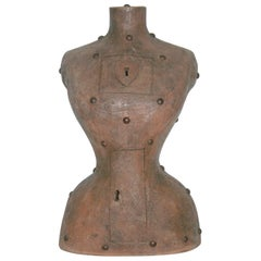Contemporary Italian Modern Sculpture of a Bust in Brown Terracotta with Keyhole