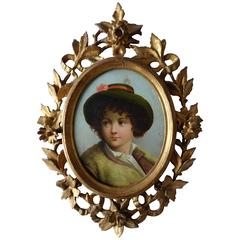 19th Century, Oval Portrait of a Boy with Hat, Signed L.E. Gaches Larey