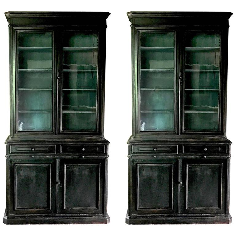 Pair of 19th Century Ebonized Louis Philippe Bookcases with Blue Interiors For Sale