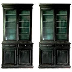 Pair of 19th Century Ebonized Louis Philippe Bookcases with Blue Interiors