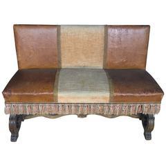 Petite Spanish Leather Walnut Bench with Fringe, Late 19th Century