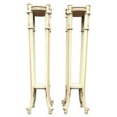 Magnificent Pair of Early 1900 Wooden Torchieres Column Pedestal Plant Stands