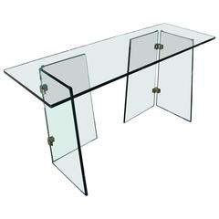 Sleek Clear Glass Desk or Console with Angled Legs