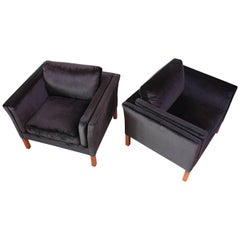 Pair of Danish Mogens Hansen Velvet Lounge Chairs