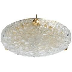 Midcentury Flush Mount Chandelier with Textured Glass by Kaiser