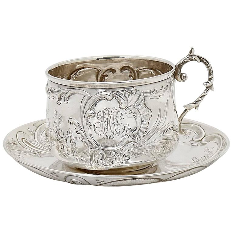 19th Century Continental Silver Cup and Saucer