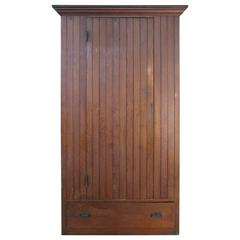 Antique Oak Beadboard Cupboard