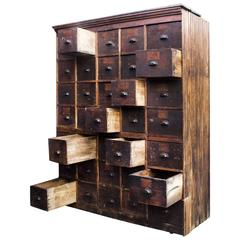 Large Antique Multi-Drawer Storage Cabinet, circa 1890s