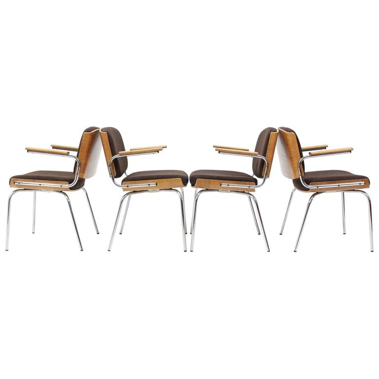 Set of Four Duba Dining Chairs in Chromed Steel and Plywood, 1970s