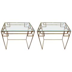 Pair of Gilt Metal Greek Key Console Tables