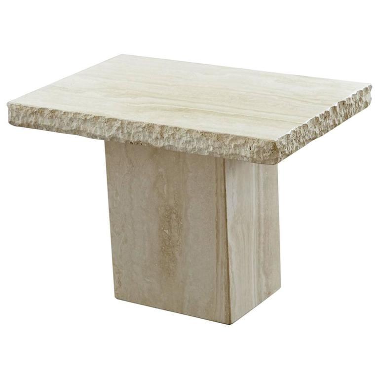 Wonderful Maurice Villency Travertine Side Table With Sculpted Rough Edges 1