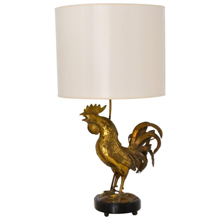 Charmant Mid Century Italian Brass Rooster Form Table Lamp