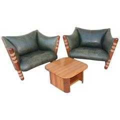 Beautiful Pair Of Pacific Green Distressed Leather Palm Wood Lounge Chairs And Table