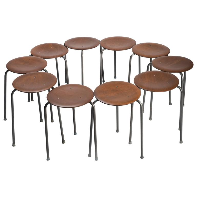 Set Of Ten Danish Modern Stools With Wooden Seat For Sale