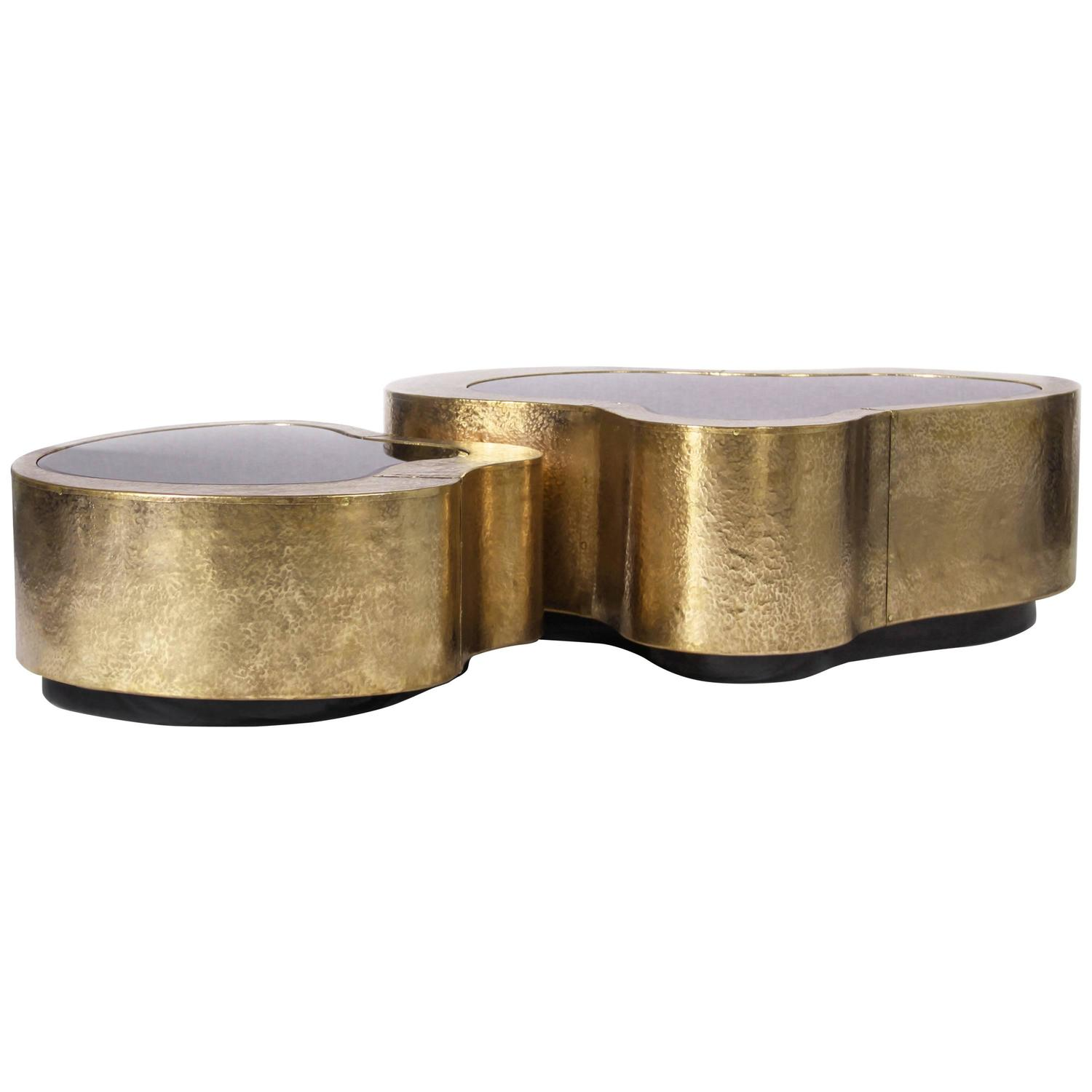Set of Two Curvilinear Hammered Brass Glass Center Coffee Tables
